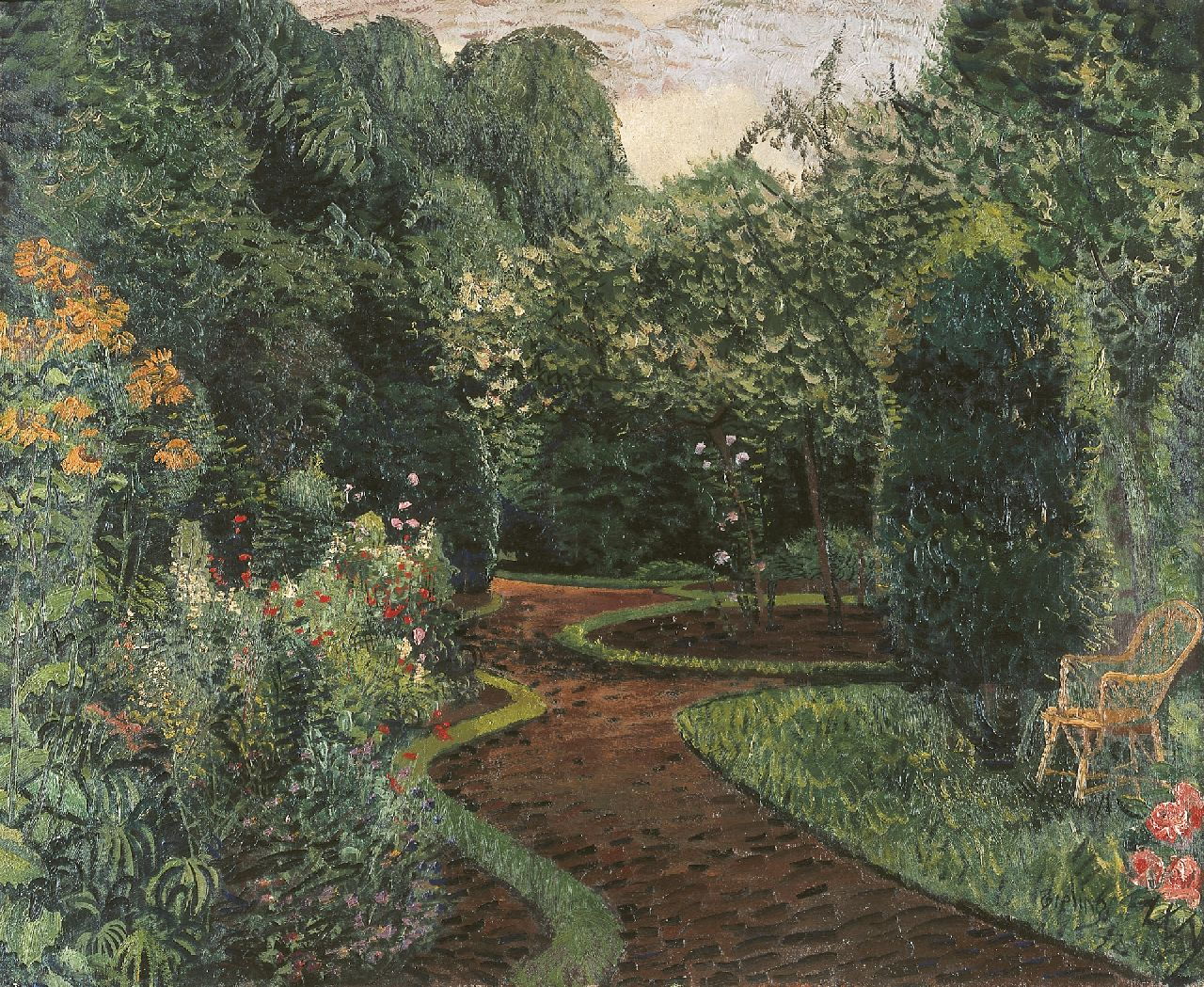 Bieling H.F.  | Hermann Friederich 'Herman' Bieling | Paintings offered for sale | A garden in bloom, Hillegersberg, oil on canvas 63.5 x 77.2 cm, signed l.r. and dated '32