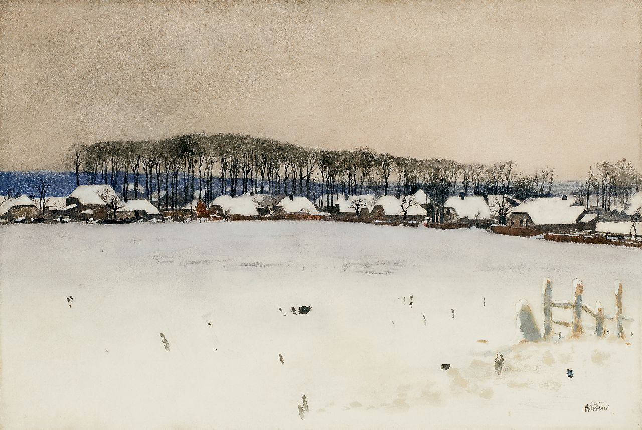 Witsen W.A.  | 'Willem' Arnold Witsen, Ede in winter, watercolour on paper 36.9 x 54.2 cm, signed l.r. and executed ca. 1895
