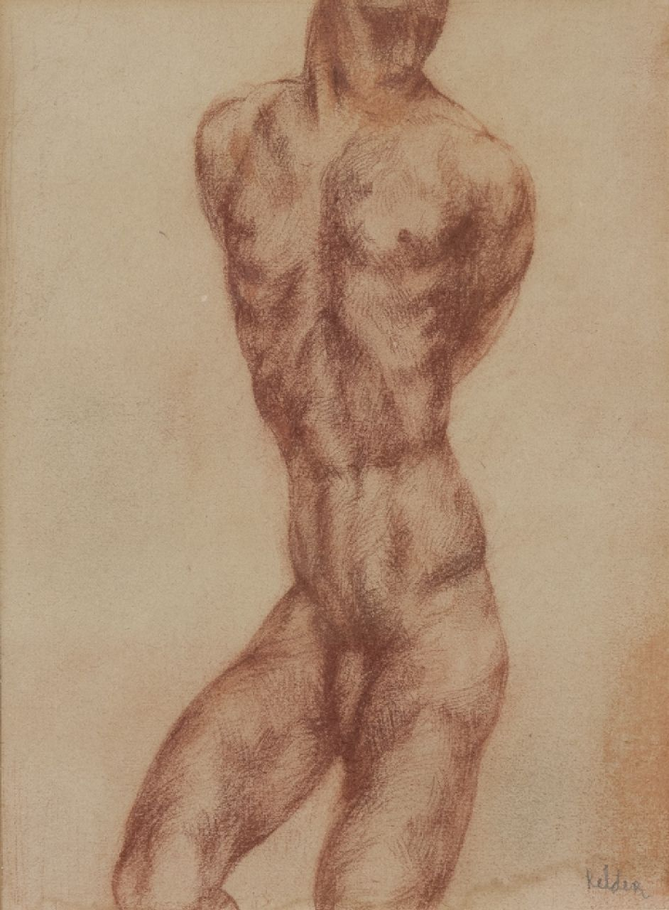 Kelder A.B.  | Antonius Bernardus 'Toon' Kelder | Watercolours and drawings offered for sale | Torso - muscle study, red chalk on paper 25.0 x 18.7 cm, signed l.r.