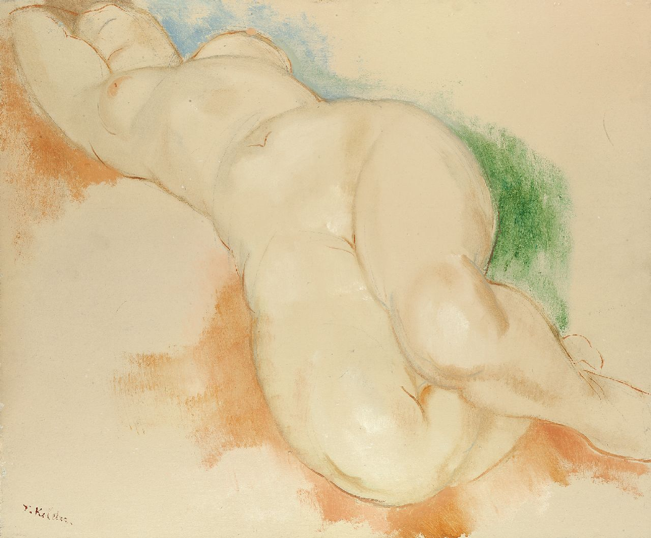 Kelder A.B.  | Antonius Bernardus 'Toon' Kelder | Watercolours and drawings offered for sale | Sleeping nude, pencil, chalk and oil on board 53.9 x 65.0 cm, signed l.l.