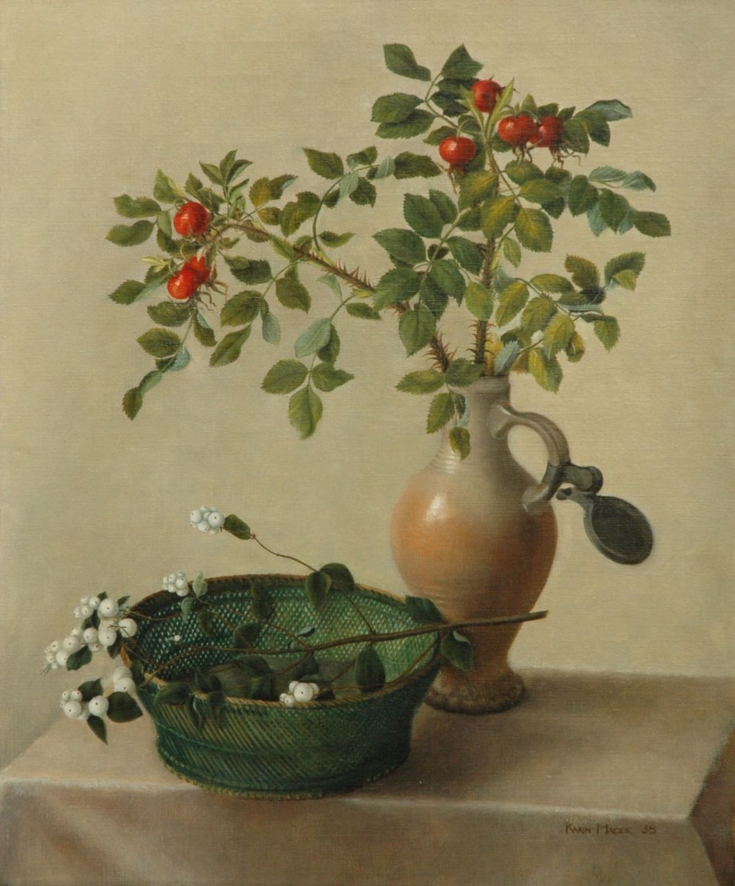 Karin Mader | Still life with branches, oil on canvas, 60.2 x 50.3 cm, signed l.r. and dated '38