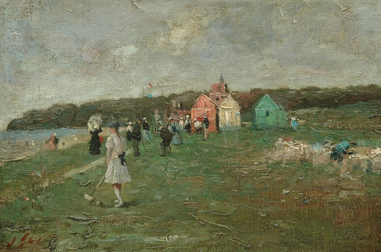 Engelse School, 19e eeuw | Playing croquet in the dunes near a beach, oil on canvas laid down on panel, 20.5 x 30.6 cm, signed l.l. 'J. 'Guy'