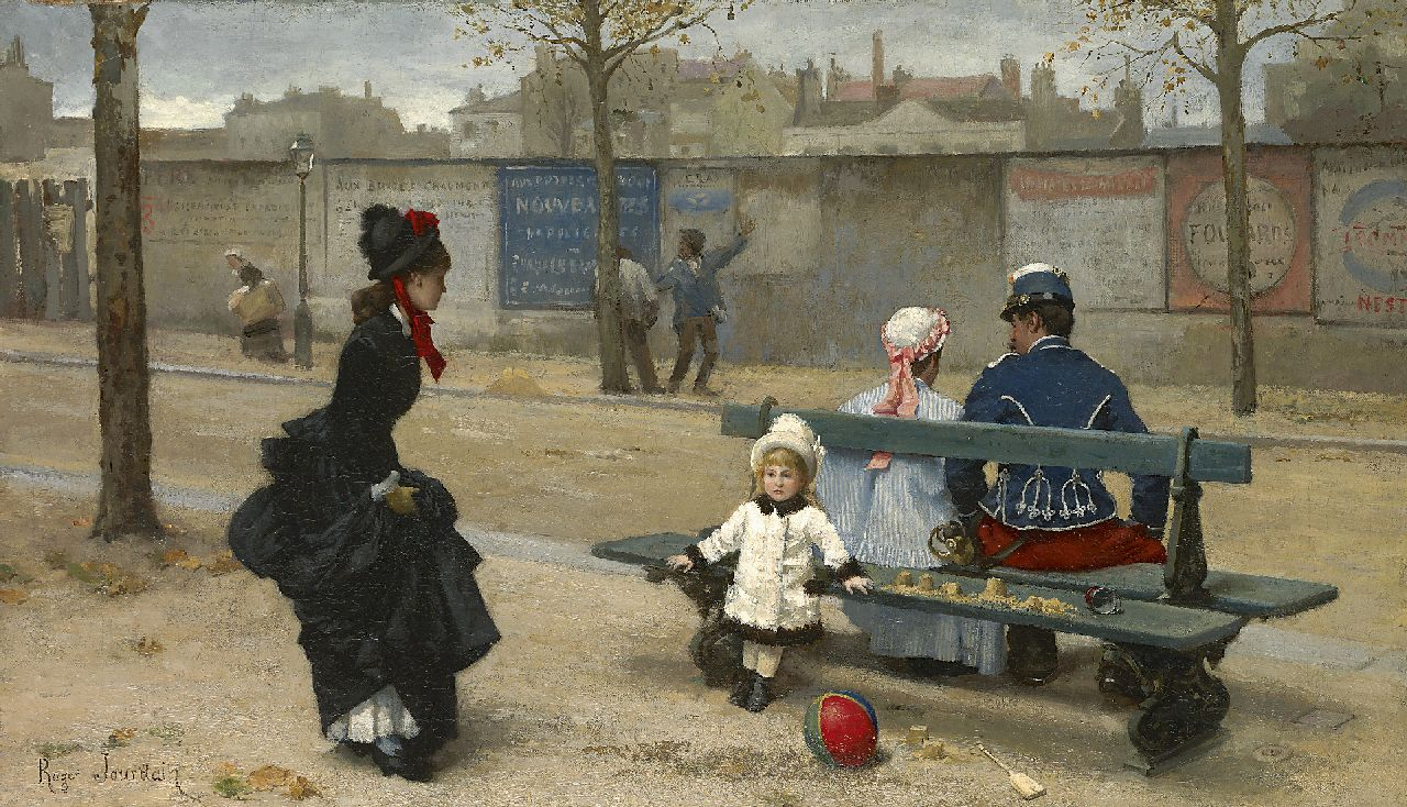 Roger Joseph Jourdain | Playing ball, oil on canvas, 35.5 x 61.5 cm, signed l.l.