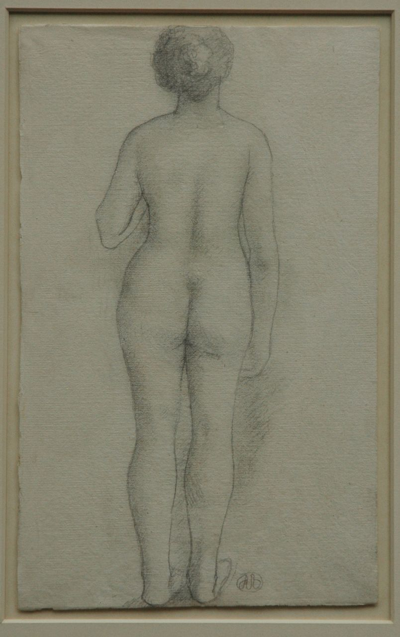 Aristide Maillol | Study of a nude from the back, pencil on paper, 29.9 x 18.4 cm, signed r.f.t.c. with monogram