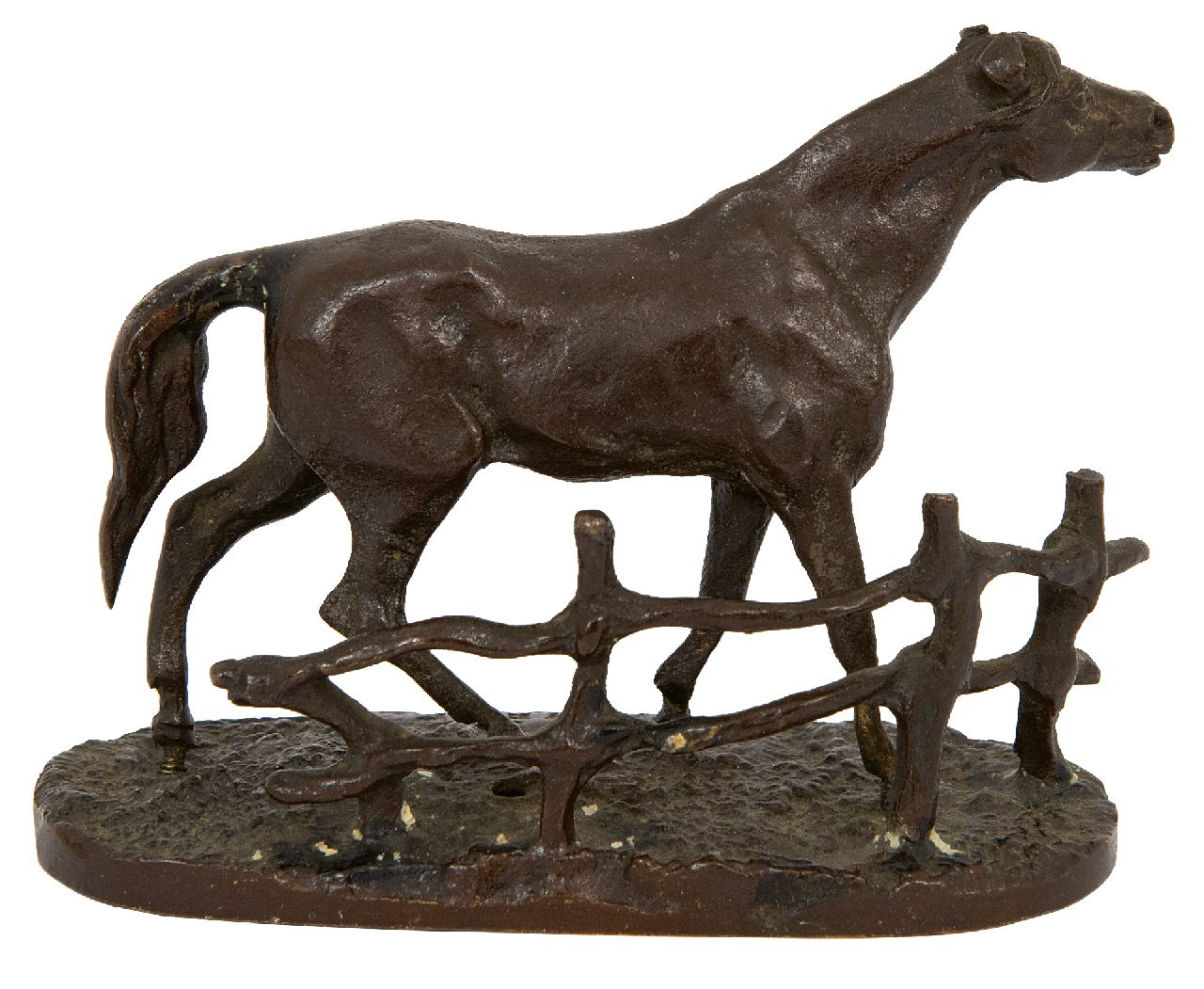 Pierre Jules Mène | A horse at the fence, bronze, 6.9 x 8.4 cm, signed with stamped signature on base