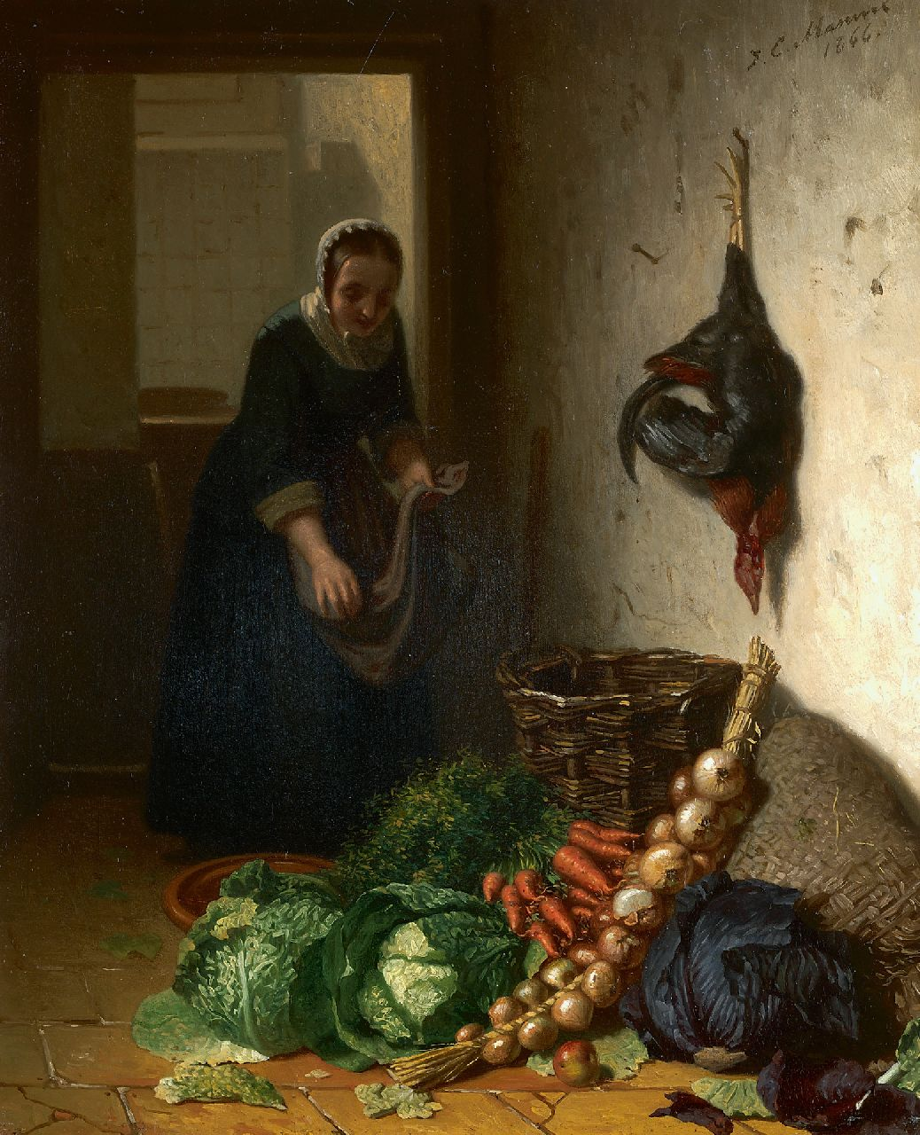 Masurel J.E.  | Johannes Engel Masurel | Paintings offered for sale | In the kitchen, oil on panel 31.2 x 25.3 cm, signed u.r. and dated 1866