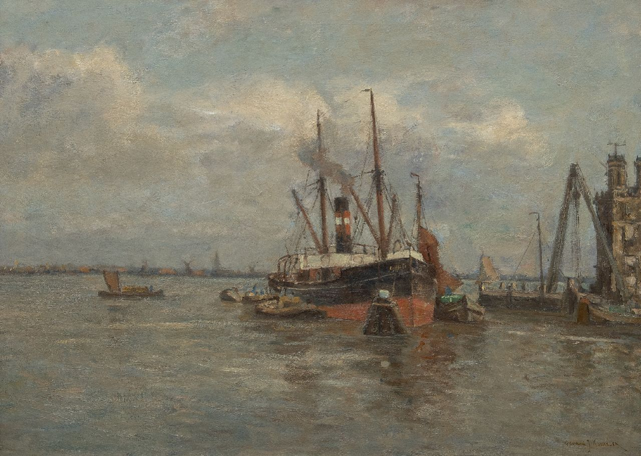Koekkoek G.J.  | Gerardus Johannes 'Gerard' Koekkoek | Paintings offered for sale | A moored coaster, oil on canvas 59.8 x 80.8 cm, signed l.r.