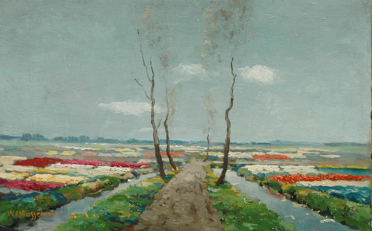 Wassenaar W.A.  | Willem Abraham Wassenaar, Flowering bulb fields, oil on panel 25.1 x 40.0 cm, signed l.l.