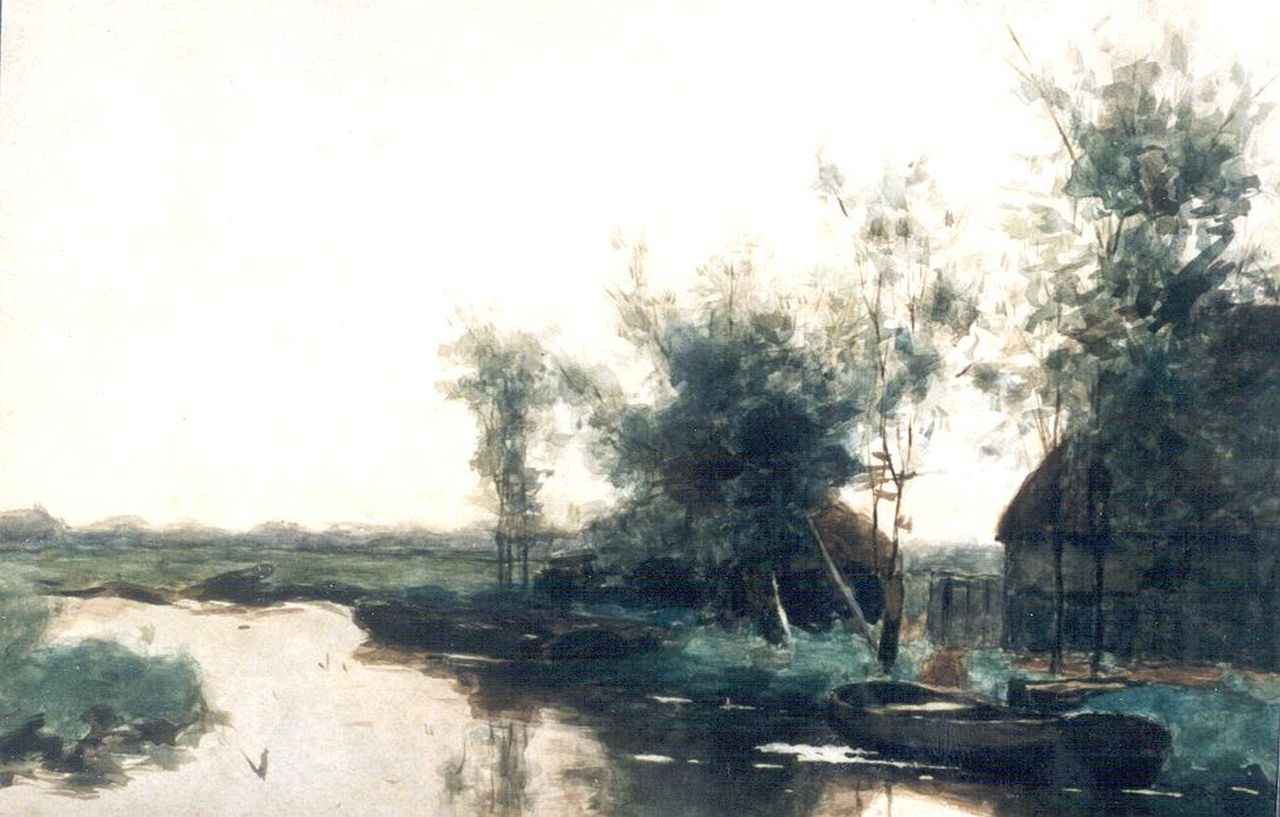 Bauffe V.  | Victor Bauffe, Moored barges in a polder landscape, watercolour on paper 36.0 x 53.0 cm, signed l.r.