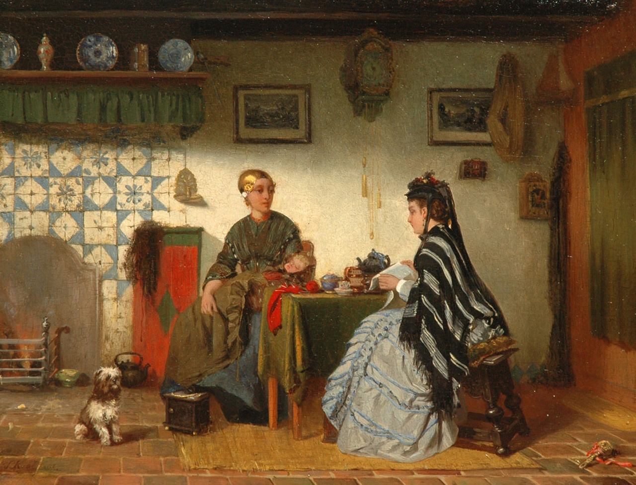 Kool S.C.  | Sipke 'Cornelis' Kool, A Friesland interior, oil on panel 26.6 x 34.9 cm, signed l.l. and dated on the reverse 1875