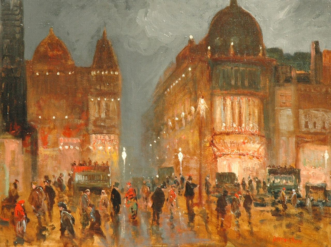 Marston | A busy London street scene at night, oil on canvas, 38.2 x 51.1 cm, signed l.r.