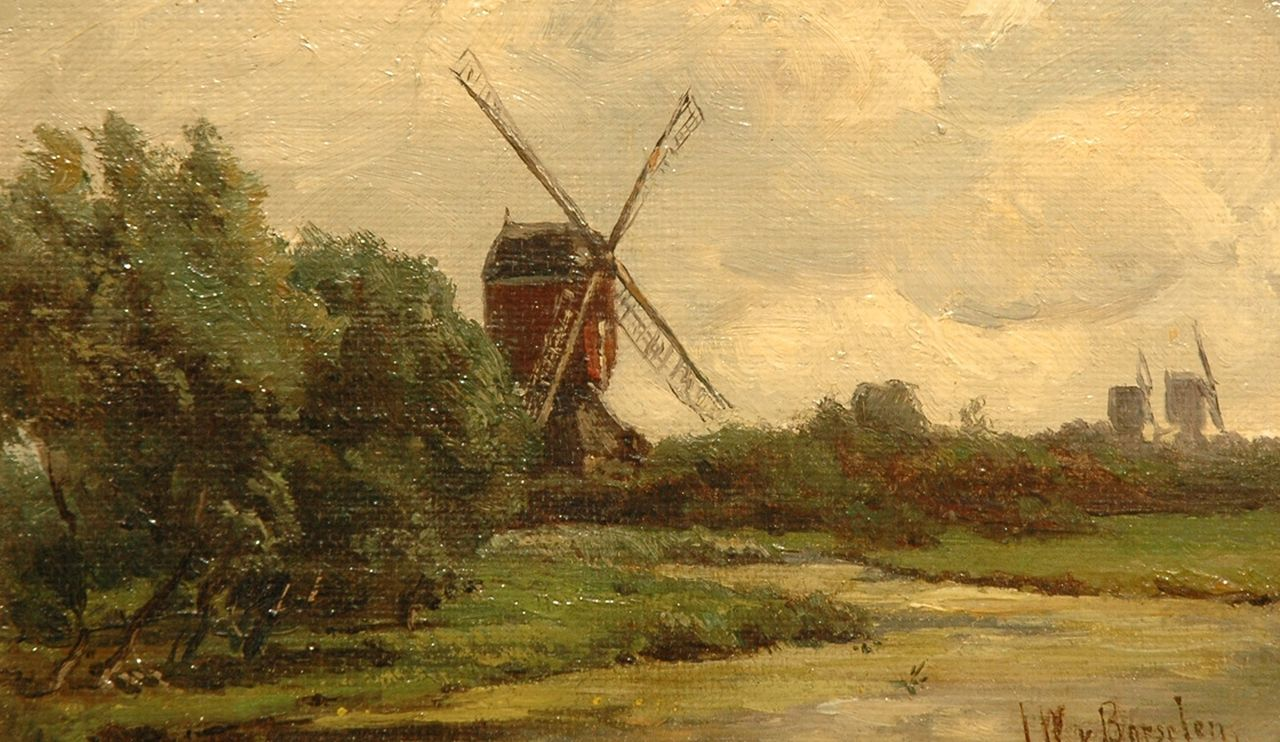 Borselen J.W. van | Jan Willem van Borselen, Windmills in a Dutch polder landscape, oil on canvas laid down on panel 12.7 x 19.8 cm, signed l.r.