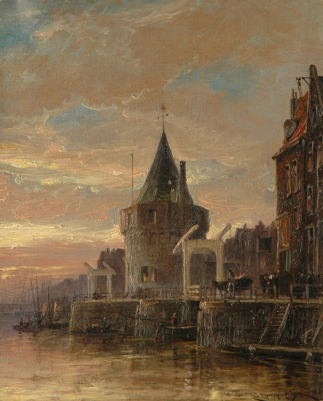 Dommelshuizen C.C.  | Cornelis Christiaan Dommelshuizen, The Schreierstoren in Amsterdam, oil on canvas 38.5 x 31.0 cm, signed l.r. and dated 1902