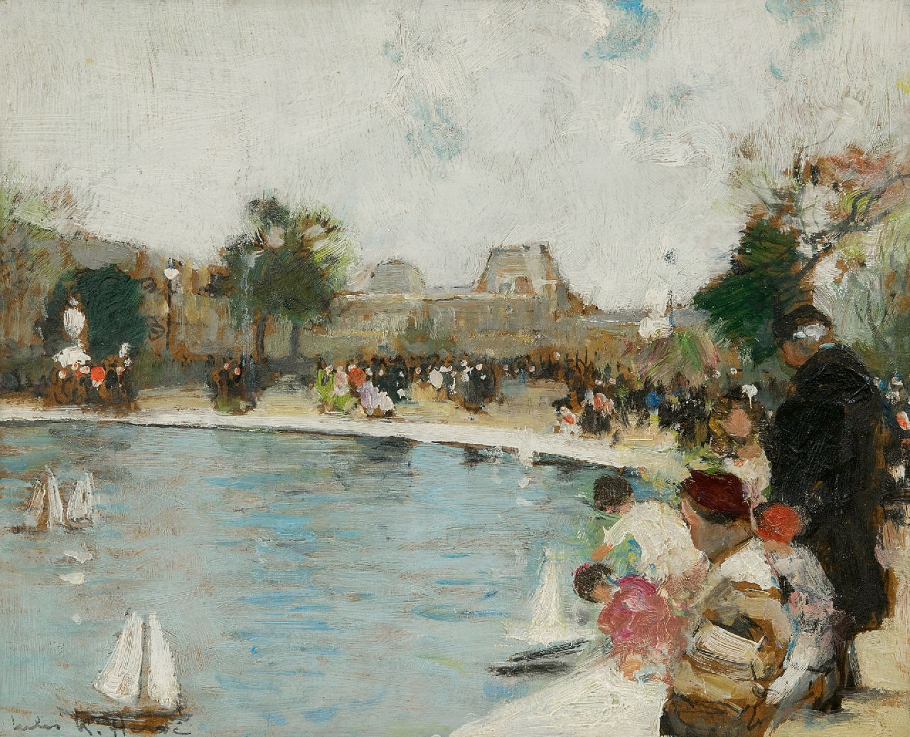 Jules René Hervé | The Garden of the Tuileries in Paris, oil on board, 22.2 x 27.2 cm, signed l.l. and on the reverse