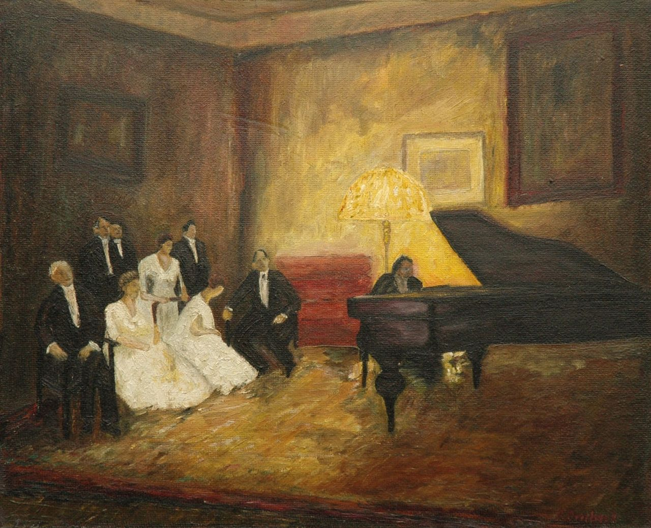Fritz Overbeck | An evening with music, oil on board, 40.1 x 49.7 cm, signed l.r.