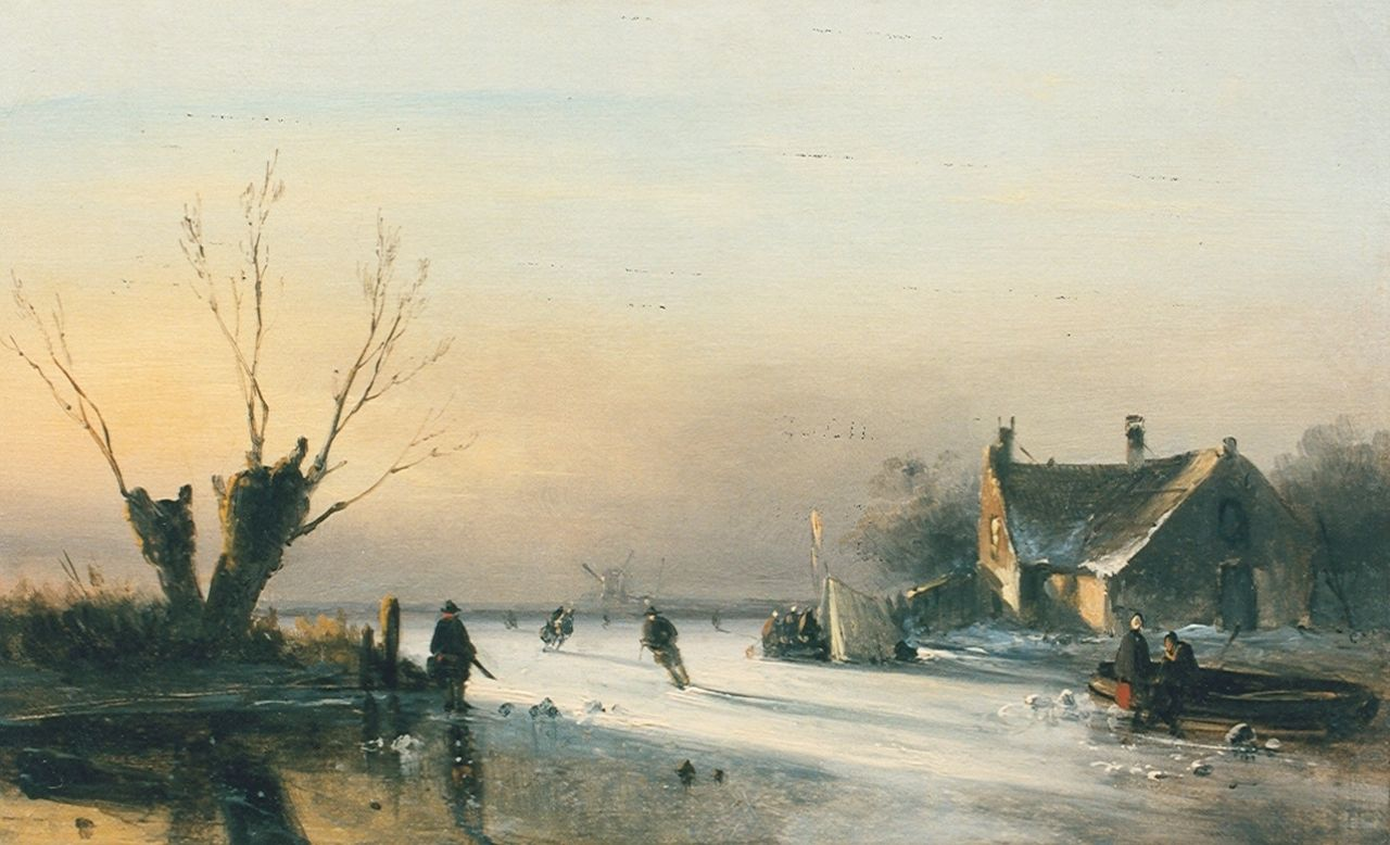 Leickert C.H.J.  | 'Charles' Henri Joseph Leickert, A winter landscape, oil on panel 22.0 x 35.0 cm