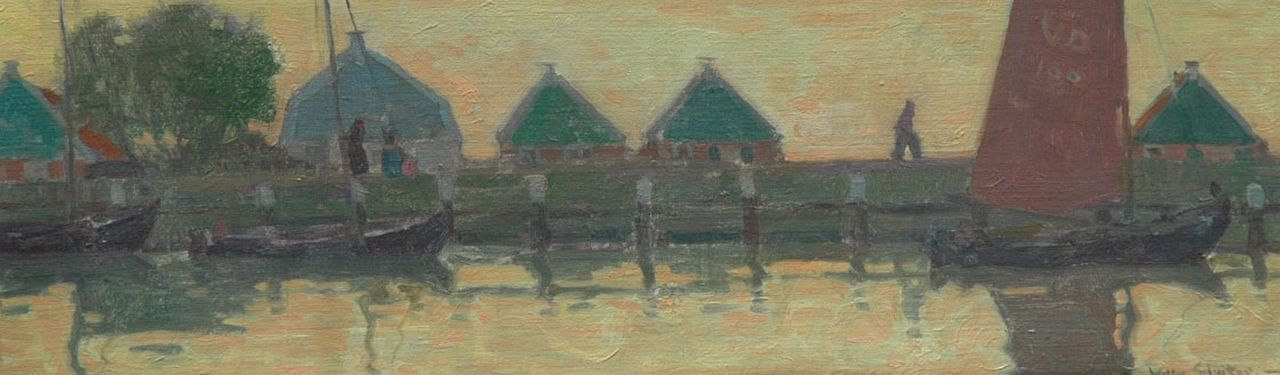 Sluiter J.W.  | Jan Willem 'Willy' Sluiter, Small houses in Volendam, oil on canvas laid down on board 24.3 x 76.9 cm, signed l.r.