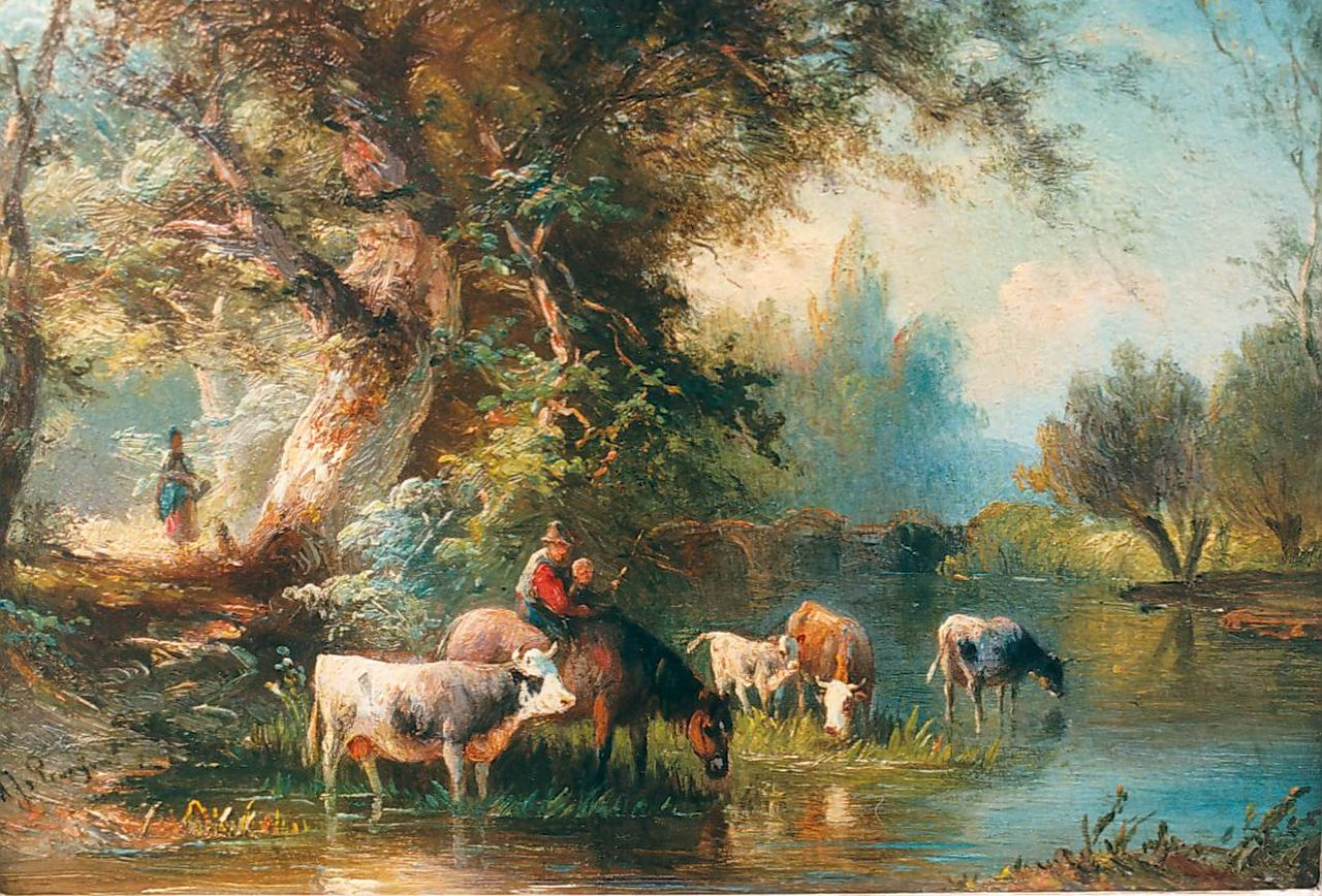 Prooijen A.J. van | Albert Jurardus van Prooijen, Cattle watering, oil on panel 15.5 x 21.7 cm, signed l.l.