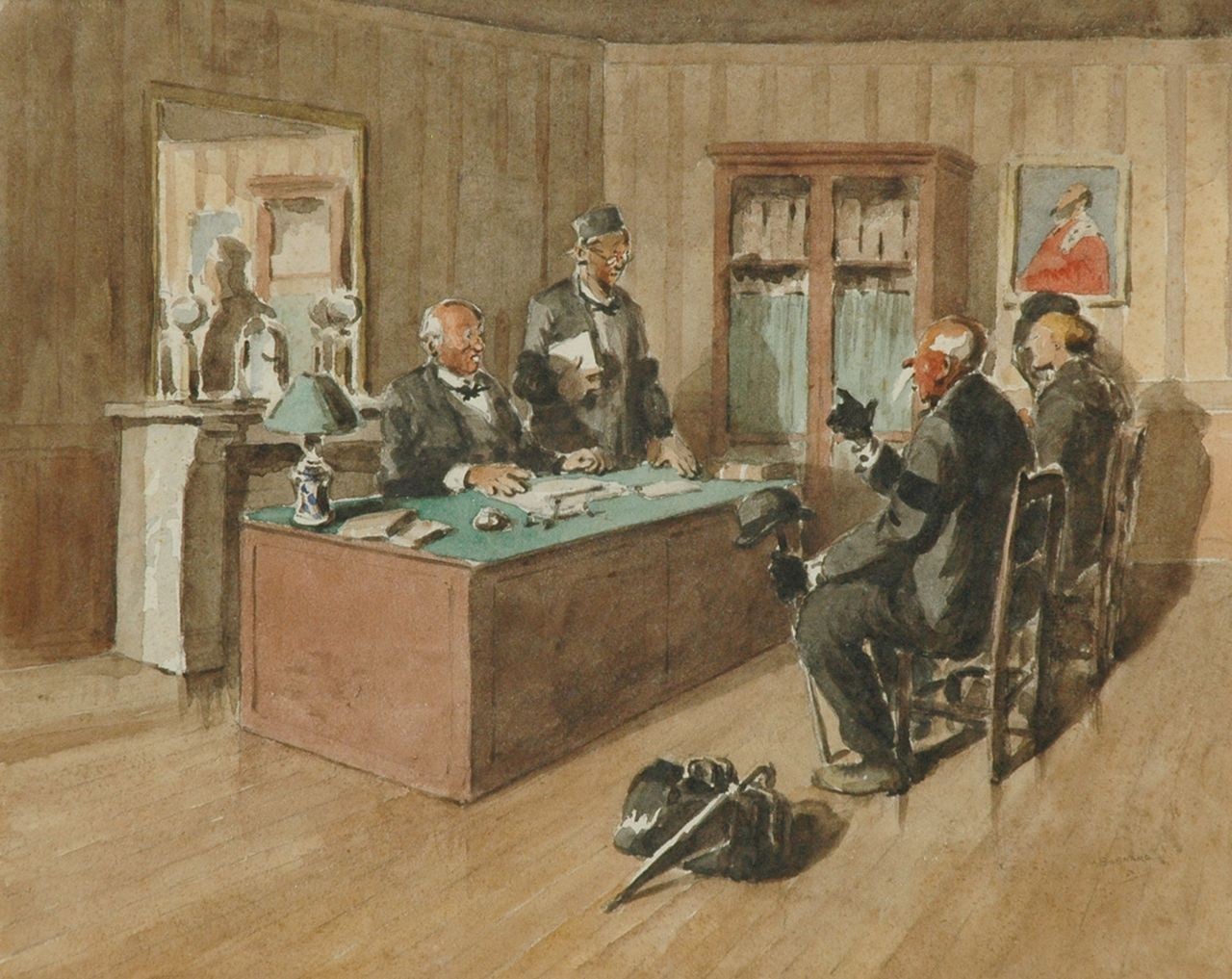 Auguste Lucien Bognard | At the notary, watercolour on paper, 35.9 x 44.8 cm, signed l.r. and dated '50