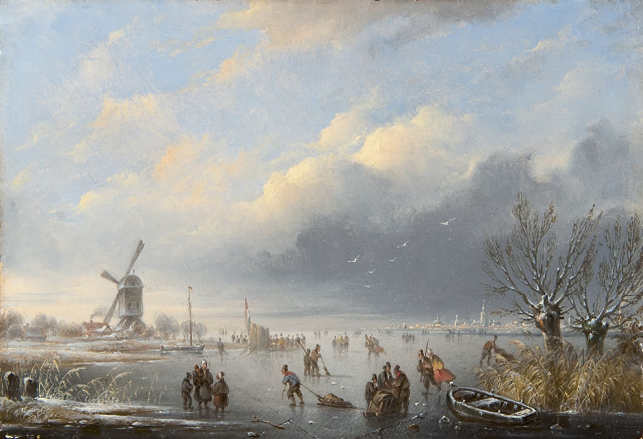 Hendriks G.  | Gerardus 'George Henry' Hendriks, A winter landscape with skaters, oil on panel 19.3 x 27.8 cm