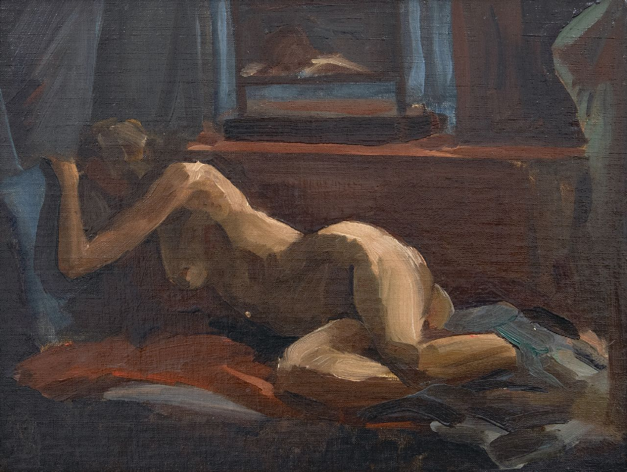 Paul Maze | Reclining nude and voyeur, oil on canvas laid down on board, 27.0 x 34.8 cm