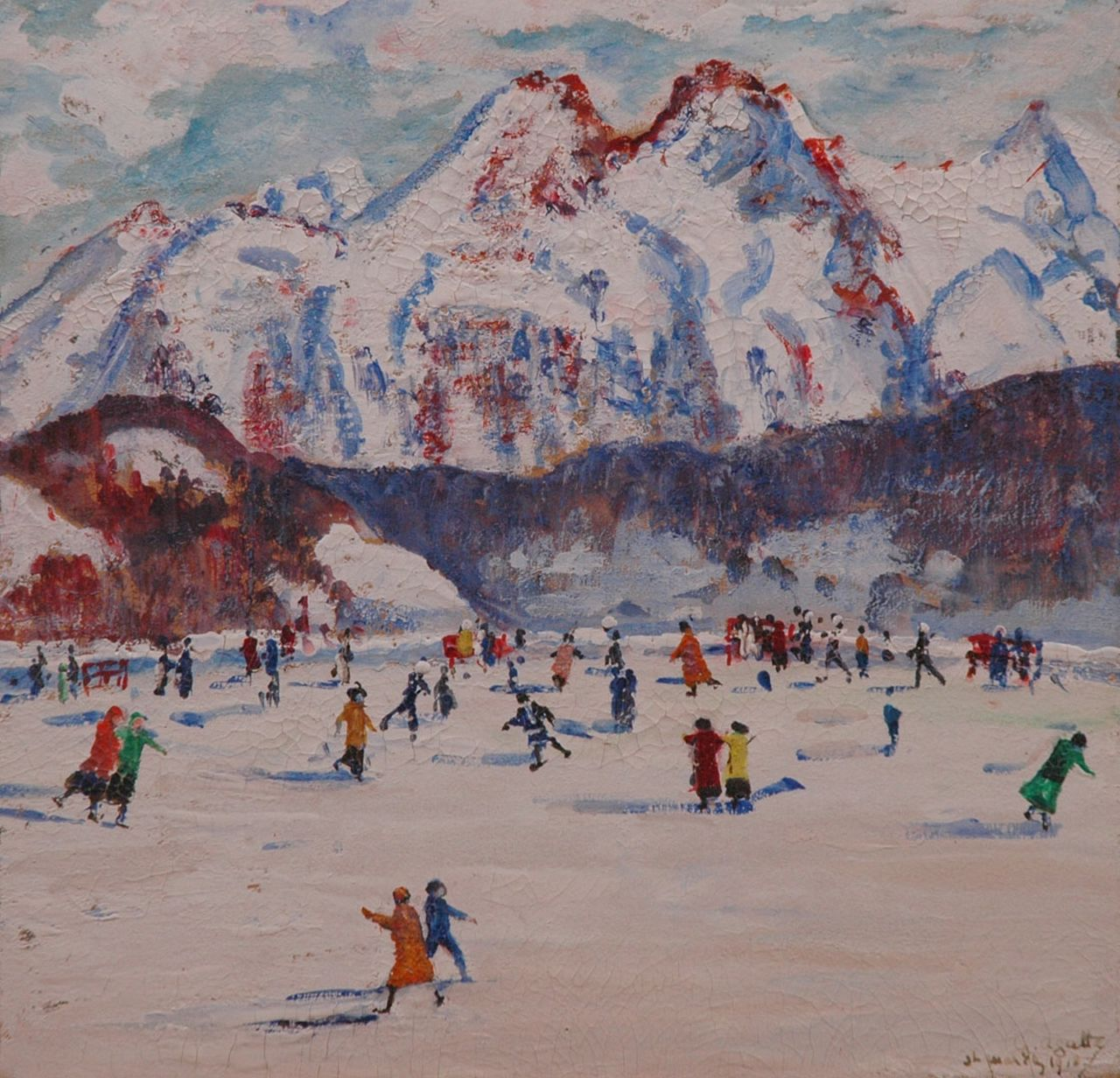 Georgette Agutte | Skating at St. Moritz, gouache on board, 23.5 x 24.3 cm, signed l.r. and dated 'St. Moritz 1918'