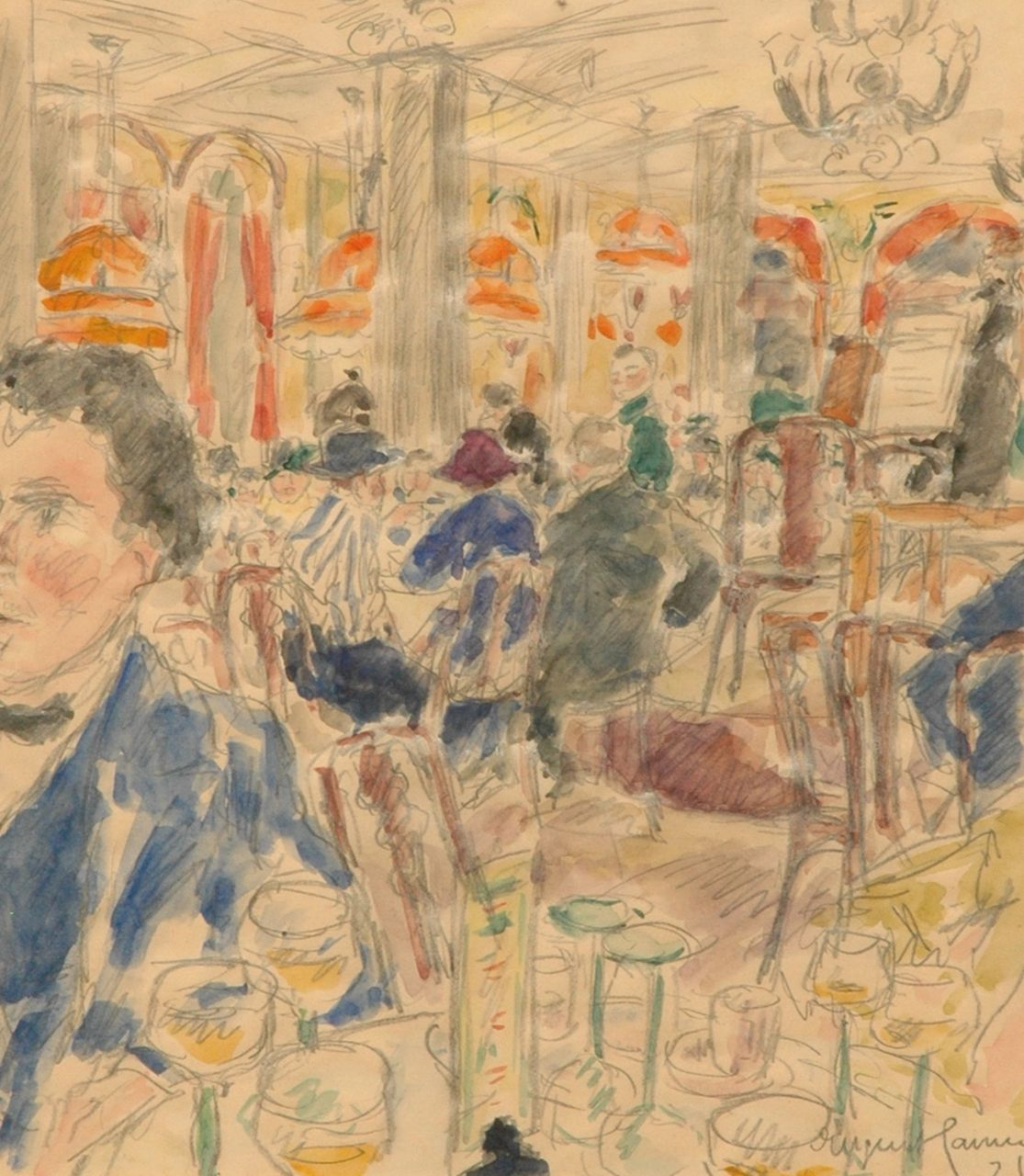 Eugen Hamm | At the coffee house 'Drei Könige' in Leipzig, pencil and watercolour on paper, 33.3 x 29.3 cm, signed l.r. and dated '21