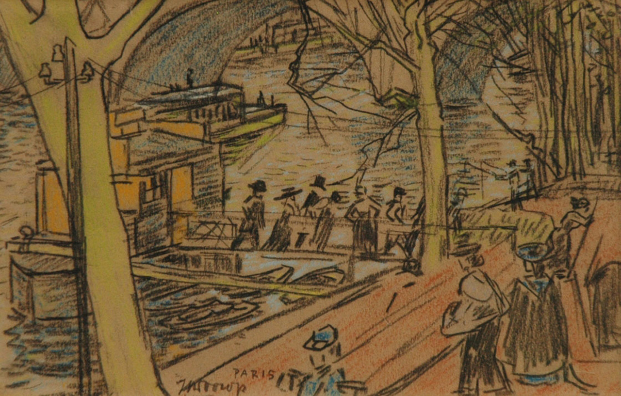 Toorop J.Th.  | Johannes Theodorus 'Jan' Toorop, Along the Seine, Paris, pencil and coloured chalk on paper 15.2 x 23.4 cm, signed l.l.c. and executed circa 1903