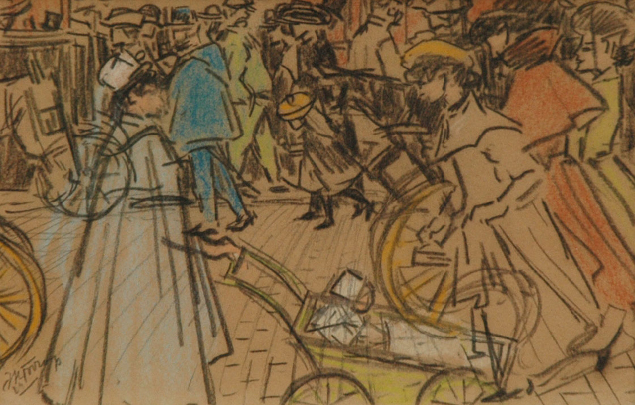 Toorop J.Th.  | Johannes Theodorus 'Jan' Toorop, Figures on a boulevard in Paris, pencil and coloured chalk on paper 15.1 x 23.2 cm, signed l.l. and executed circa 1903