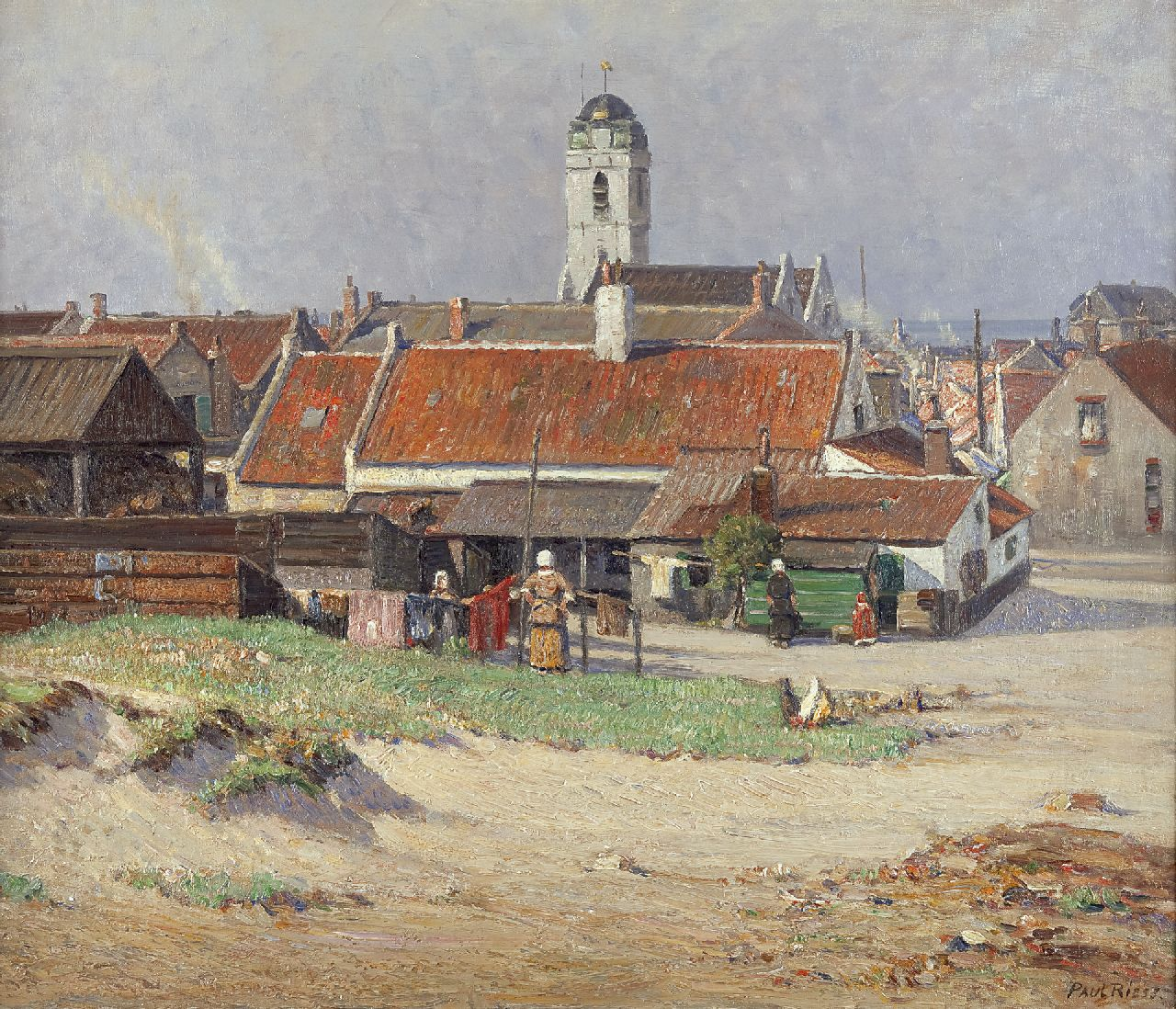 Paul Riess | A View of Katwijk aan Zee with the Oude Kerk, oil on canvas, 60.9 x 70.6 cm, signed l.r.