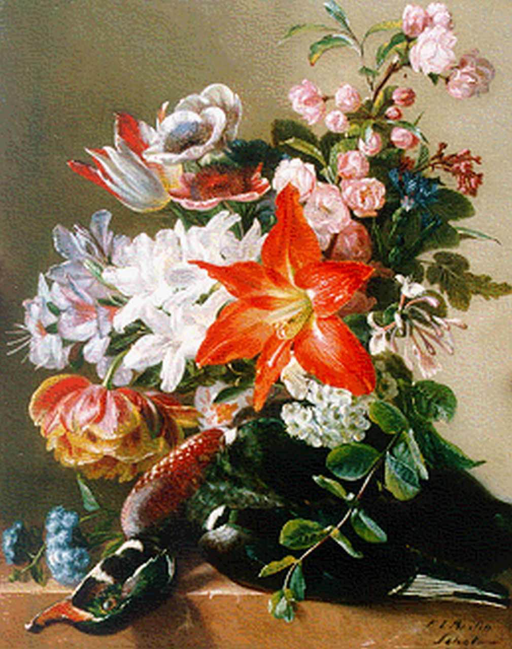 Schot F.L.  | Francina Louise Schot, A flower still life, oil on panel 43.5 x 34.8 cm, signed l.r.