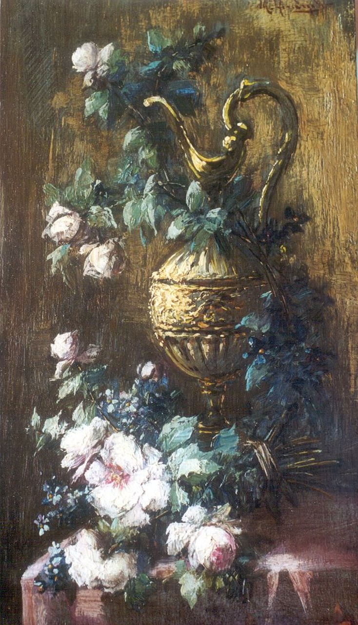 Michel Antoine Hendrickx | A still life with roses, oil on panel, 27.1 x 15.1 cm, signed u.r.