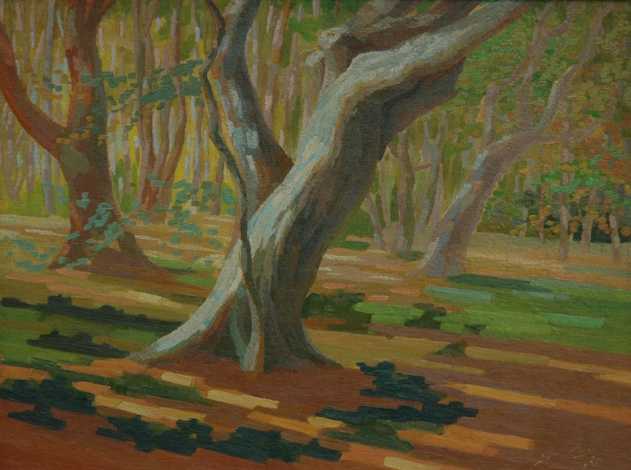 Smorenberg D.  | Dirk Smorenberg, A wooded landscape, oil on canvas laid down on panel 44.6 x 59.0 cm, signed l.r. and dated '20