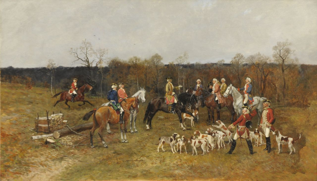 Antoni Piotrowski | The hunting party, oil on canvas, 55.0 x 92.3 cm, signed l.c.  'A. Piotrowski' and executed '1880 Paris'