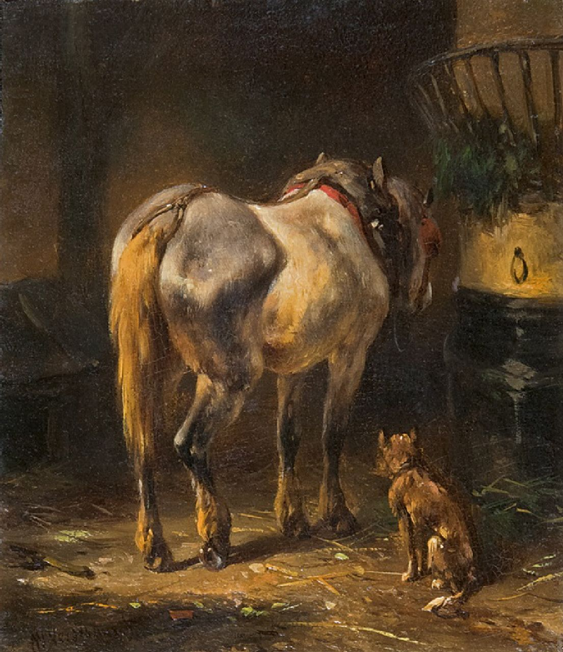 Verschuur W.  | Wouterus Verschuur | Paintings offered for sale | A grey in a stable, oil on panel 10.1 x 8.6 cm, signed l.l.