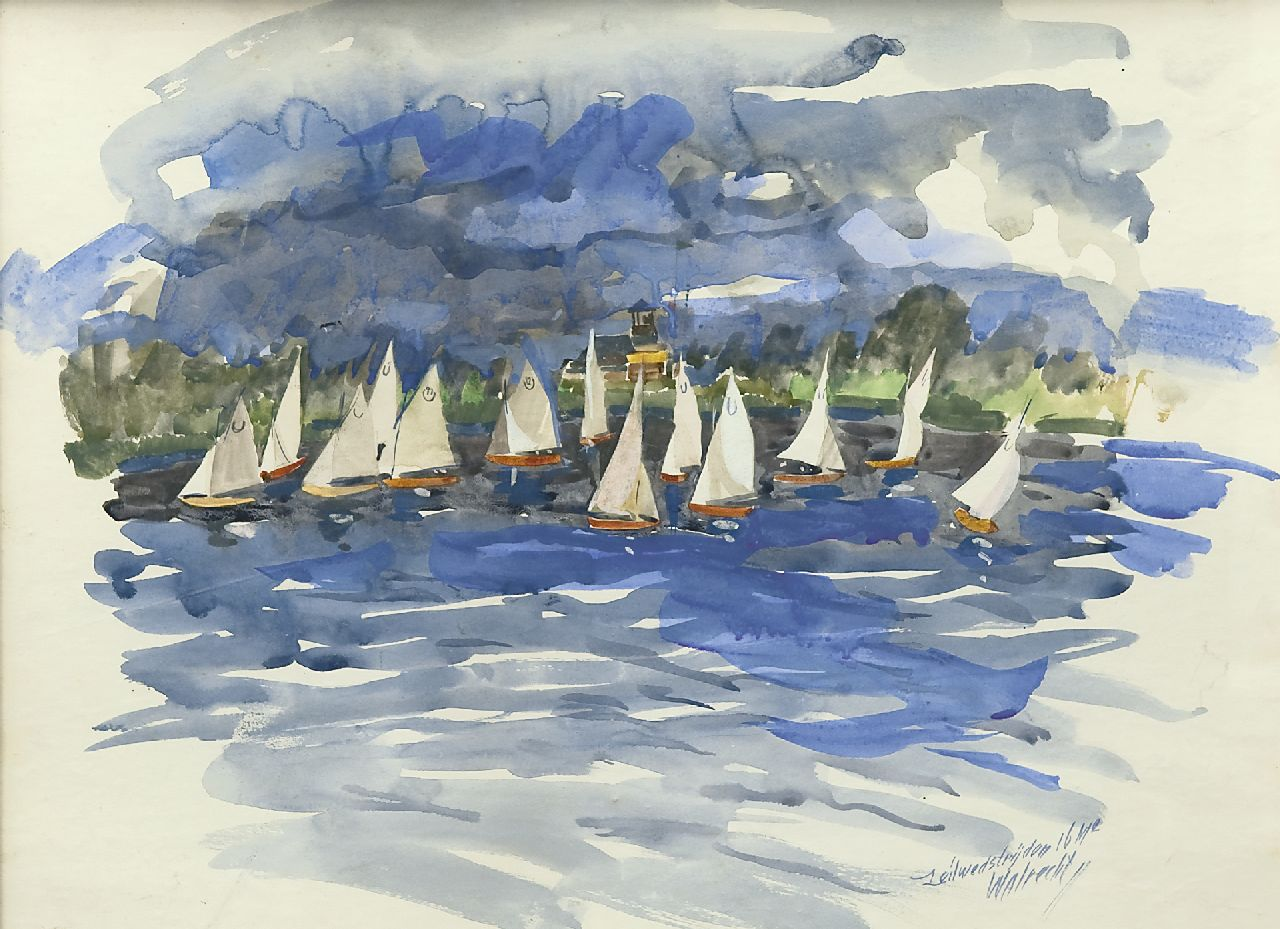 Walrecht B.H.D.  | Bernardus Hermannus David 'Ben' Walrecht, Sailing competition near Zuidlaren, watercolour on paper 38.5 x 48.4 cm, signed l.r.