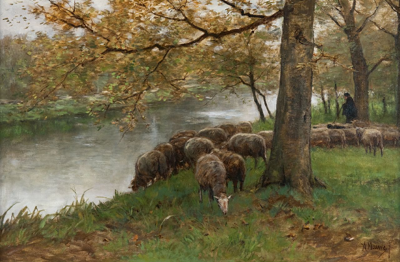 Mauve A.  | Anthonij 'Anton' Mauve | Paintings offered for sale | Sheep watering by a river, oil on canvas 60.5 x 90.2 cm, signed l.r. and painted ca. 1870