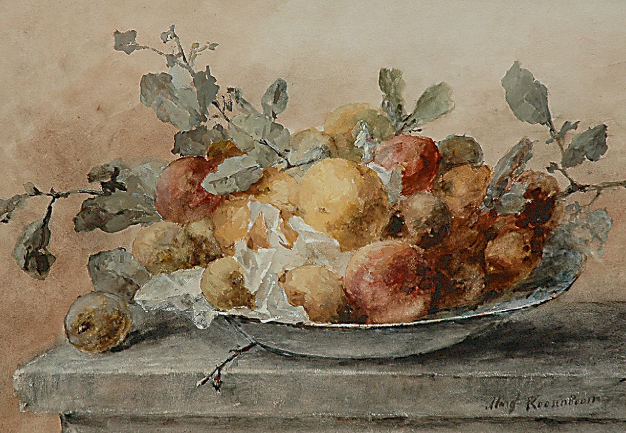 Roosenboom M.C.J.W.H.  | 'Margaretha' Cornelia Johanna Wilhelmina Henriëtta Roosenboom, A still life with fruit and twigs on a plate, watercolour and gouache on paper 46.6 x 66.3 cm, signed l.r.