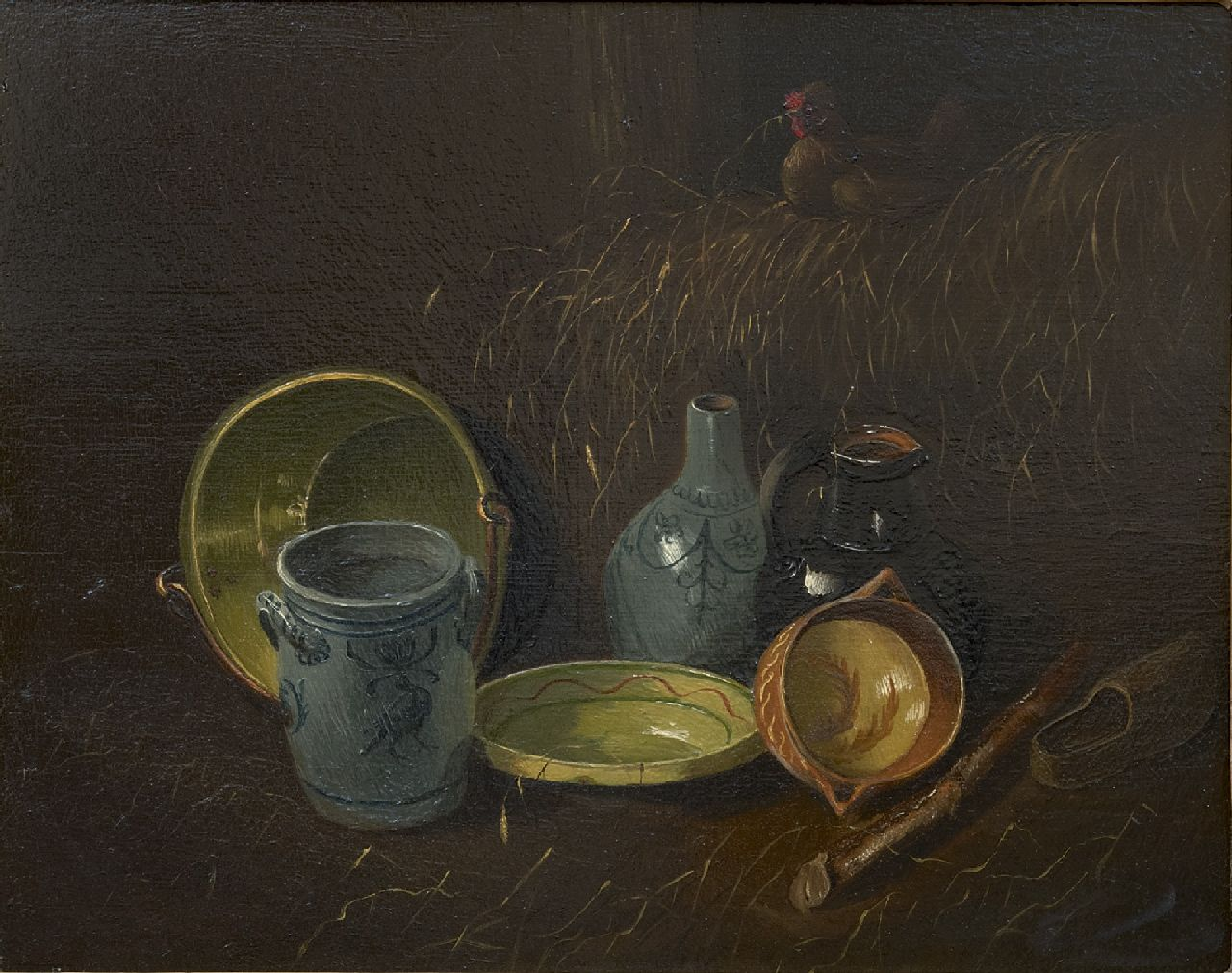 Wilhelm Albertus Lammers | A still life with kitchen attributes, oil on panel, 22.4 x 28.3 cm