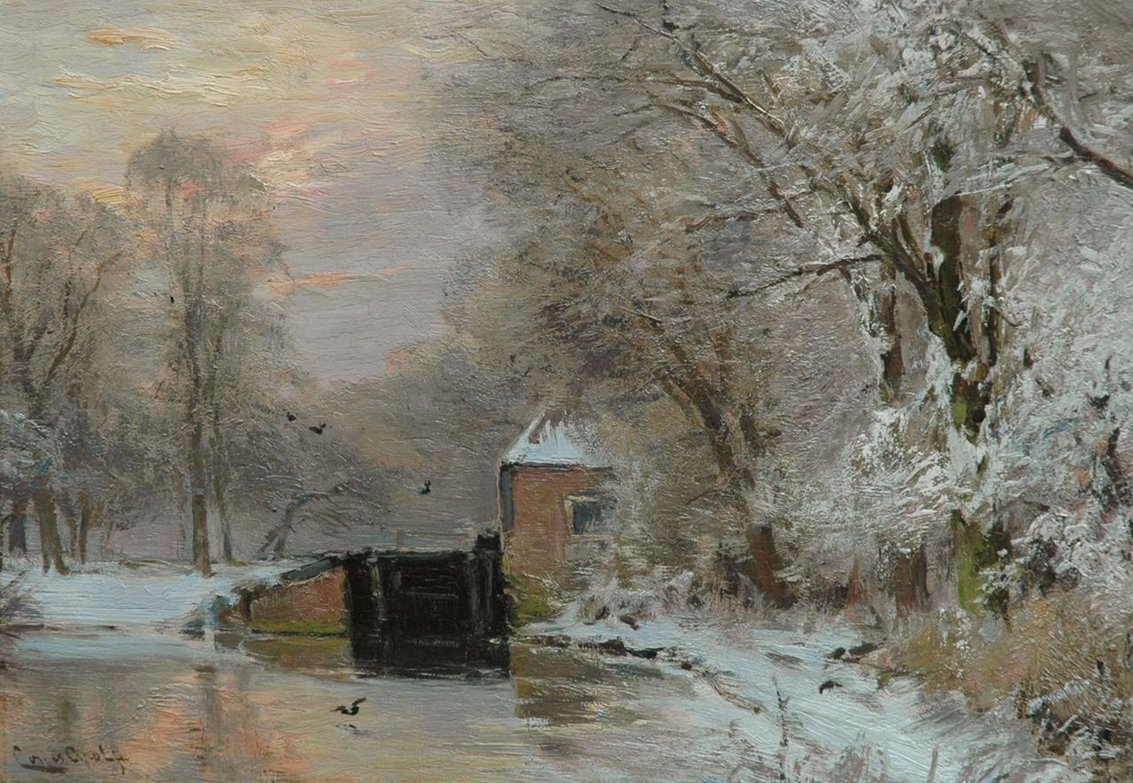Apol L.F.H.  | Lodewijk Franciscus Hendrik 'Louis' Apol, A winter landscape with a lock, at sunset, oil on panel 26.5 x 38.0 cm, signed l.l.