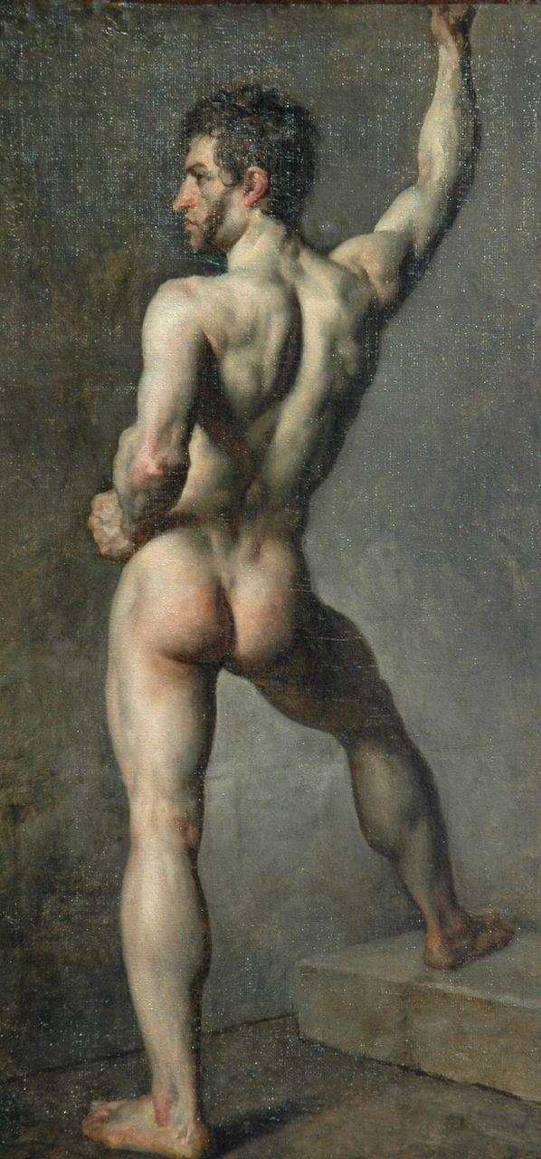 William Etty (Toegeschreven aan) | Male nude, oil on canvas laid down on board, 89.8 x 43.5 cm