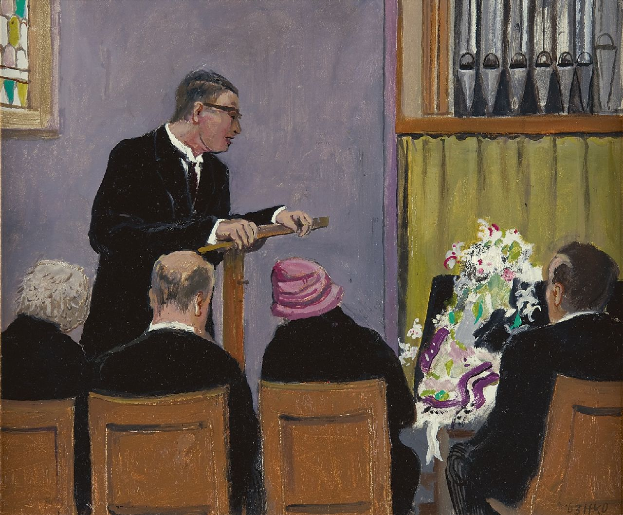 Kamerlingh Onnes H.H.  | 'Harm' Henrick Kamerlingh Onnes | Paintings offered for sale | The memorial service, oil on board 34.1 x 40.8 cm, signed l.r. with monogram and dated '63