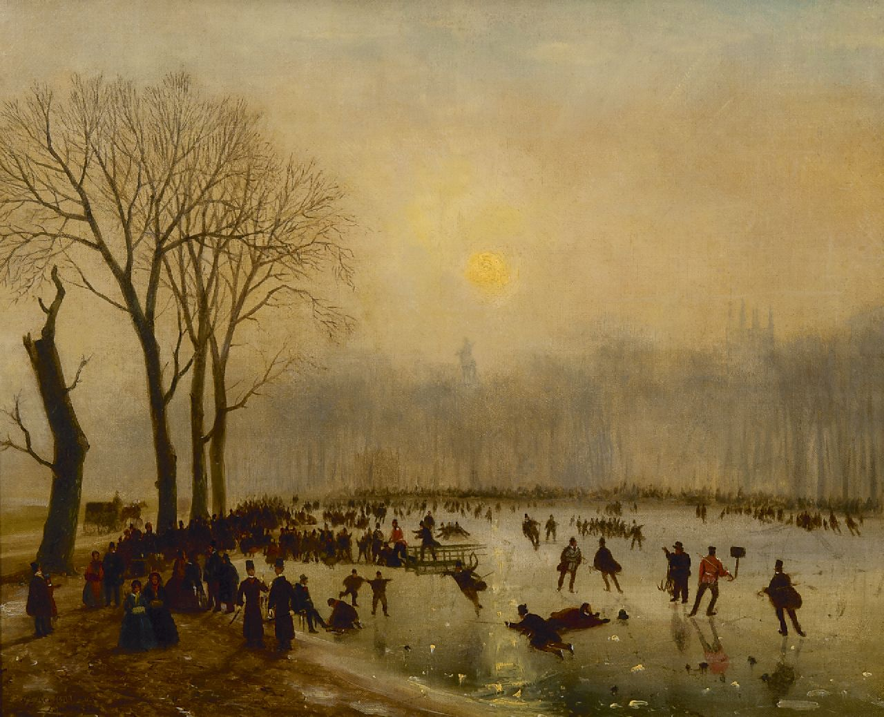 Roosenboom N.J.  | Nicolaas Johannes Roosenboom | Paintings offered for sale | Skating fun on The Serpentine, Hyde Park, oil on canvas 43.3 x 53.7 cm, signed l.l. and dated 'London' '55