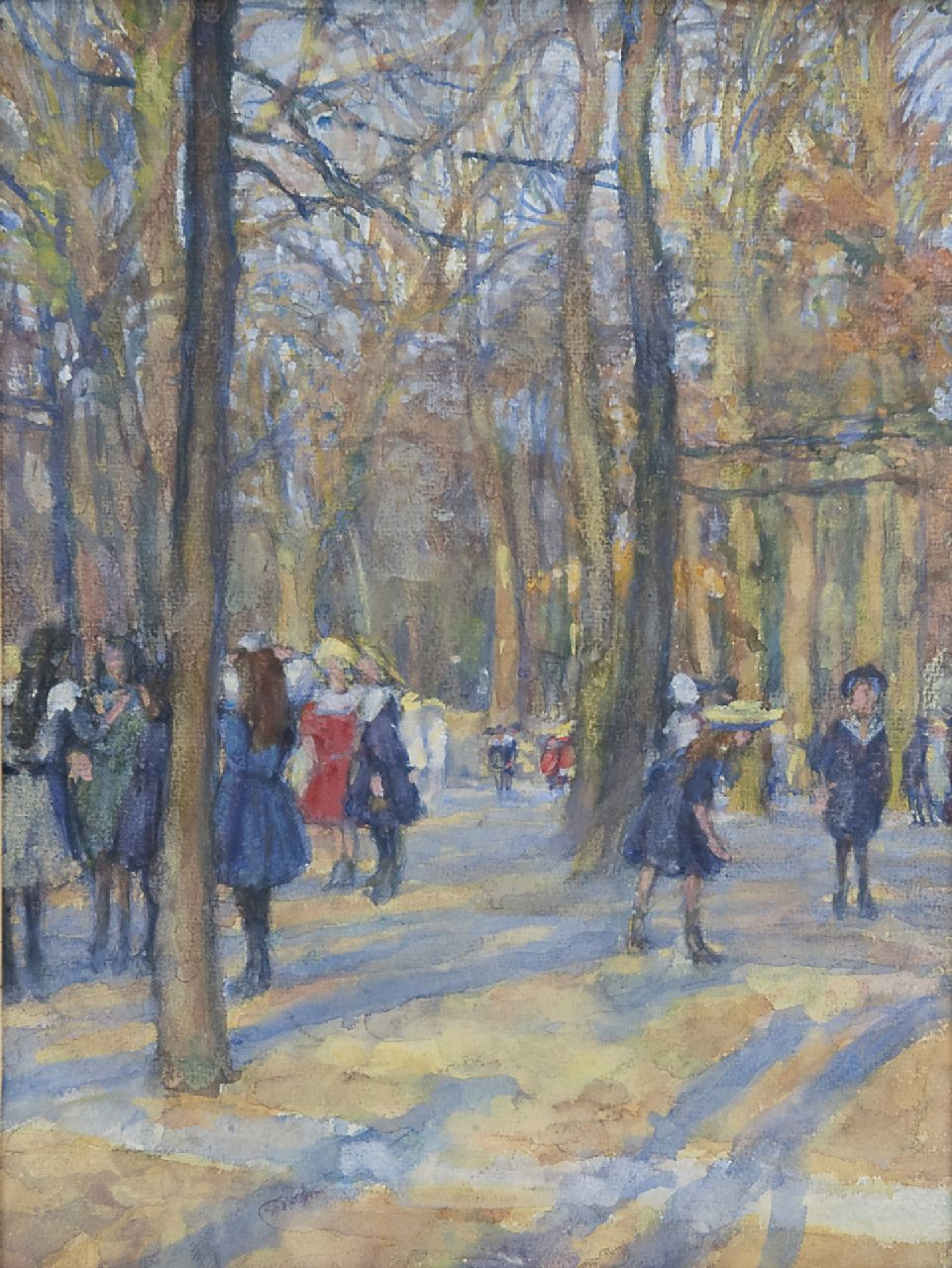 Erich Büttner | Children at the zoo, Berlin, watercolour on paper, 34.0 x 25.5 cm, signed l.l., and with monogram on the reverse and dated '09
