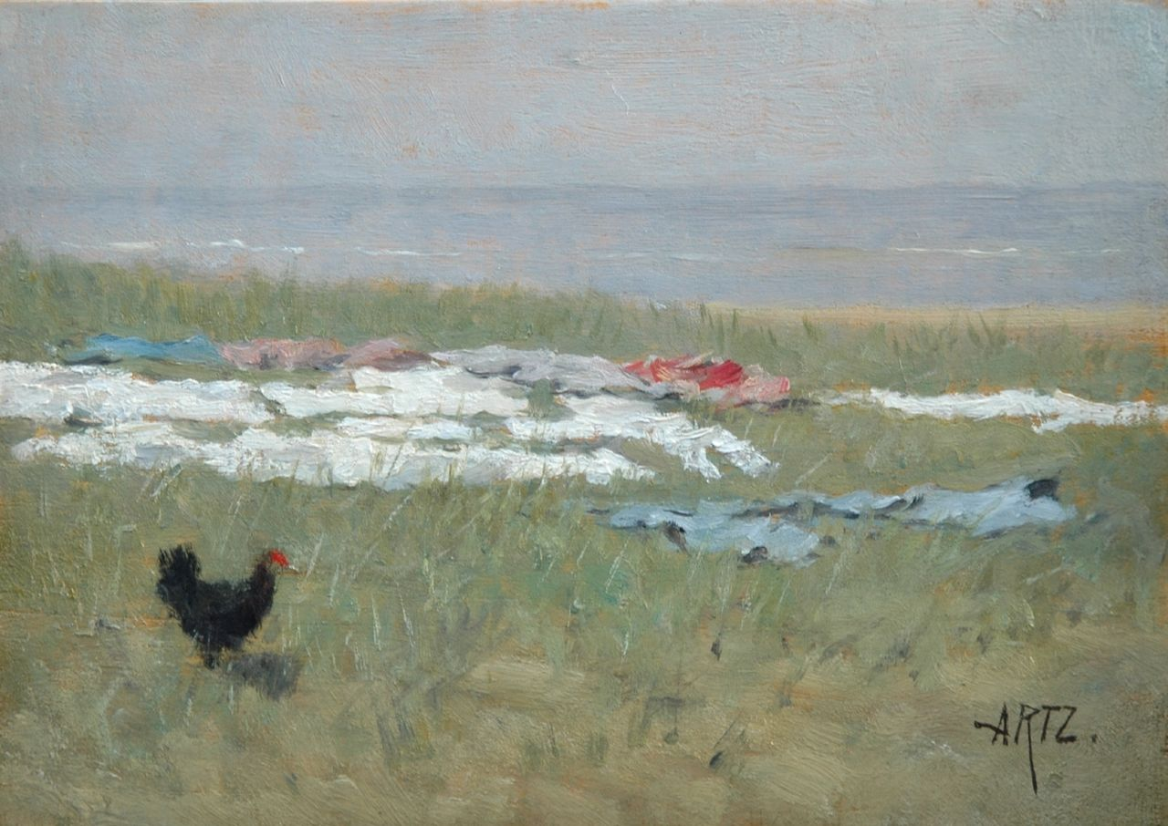 Artz D.A.C.  | David Adolphe Constant Artz, Little black chicken on a bleach field in the dunes, oil on panel 17.9 x 25.0 cm, signed l.r.