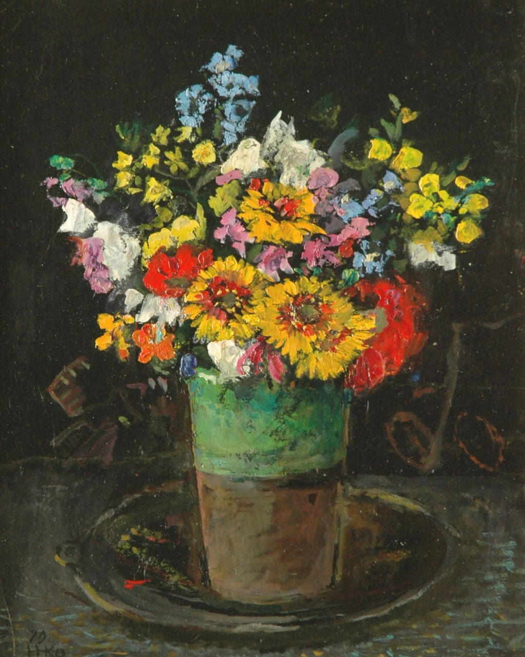 Kamerlingh Onnes H.H.  | 'Harm' Henrick Kamerlingh Onnes, A colourful bouquet in a green vase, oil on board 34.5 x 28.0 cm, signed l.l. with monogram and dated '79