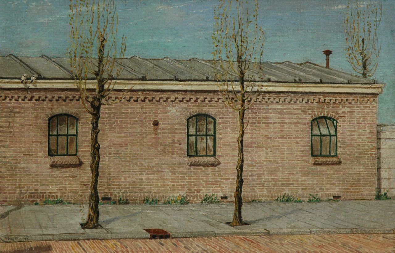 Kamerlingh Onnes H.H.  | 'Harm' Henrick Kamerlingh Onnes, A hangar with stable windows, oil on canvas laid down on panel 44.5 x 29.5 cm, signed l.l. with monogram and dated '42
