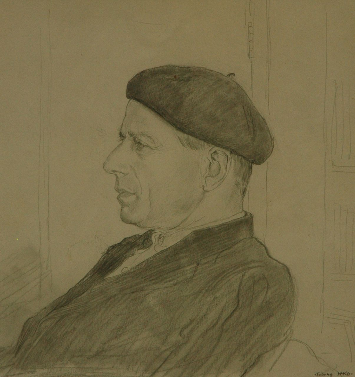 Kamerlingh Onnes H.H.  | 'Harm' Henrick Kamerlingh Onnes, A portrait of Paul Citroen, 1949, pencil on paper 28.5 x 28.0 cm, signed l.r. with monogram and Dated [2?] Febr '49