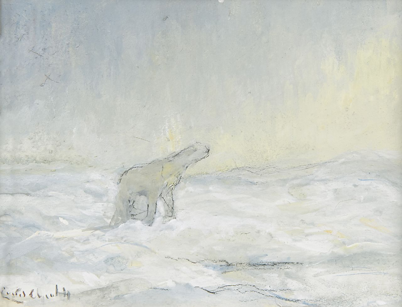 Apol L.F.H.  | Lodewijk Franciscus Hendrik 'Louis' Apol, A polar bear on the North Pole, gouache on paper 10.9 x 14.3 cm, signed l.l. and executed in 1935-1936