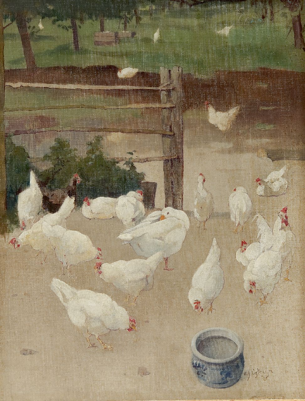Ligtelijn E.J.  | Evert Jan Ligtelijn, A goose and chickens in the farmyard, oil on canvas laid down on panel 43.6 x 33.5 cm, signed l.r.